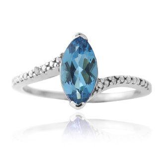 Glitzy Rocks Silver London Blue Topaz and Diamond Accent Solitaire