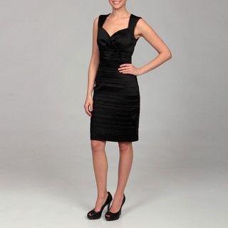 Jax Womens Black Shutter Pleat Detail Dress