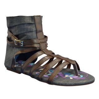 Muk Luks Womens Sun Luk Printed Canvas Scrunched Gladiator Sandals