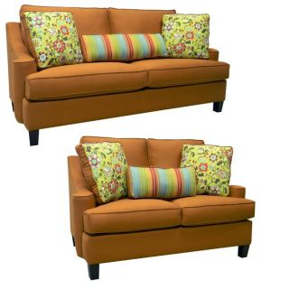 Joliet Burnt Orange Fabric Sofa and Loveseat