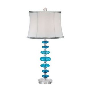 Island Blue Glass Buffet Table Lamp