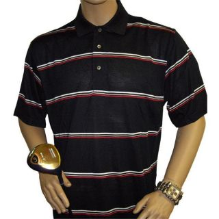 Harry Vardon Mens Black Horizontal Stripe Golf Polo Shirt