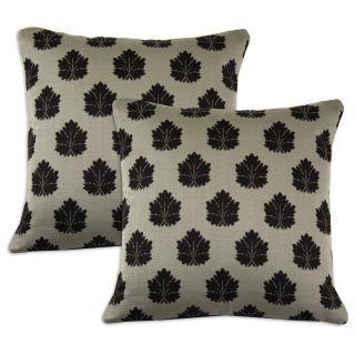 Beige and Light Eggplant Leaf print Accent Pillows (Set of 2