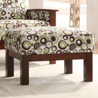 Hills White/ Moss/ Brown Bubble Print Ottoman