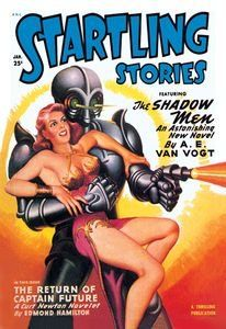 Startling Stories: Robot Seizes Woman   Paper Poster (18