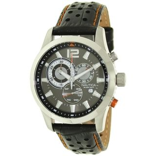 Nautica Mens Brown Crocodile Leather Automatic Watch
