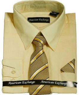 American Exchange Boys Dress Shirt and Tie set (Yellow
