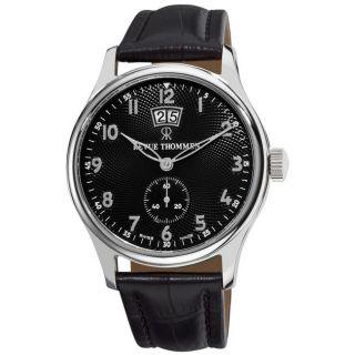 Revue Thommen Mens Air Speed Black Leather Strap Big Date Watch