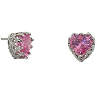 Sterling Silver Pink Topaz Heart Crown Earrings