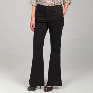 Jones New York Womens Black Besom Pocket Flare Pants