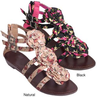 Journee Collection Womens Sprout 77 Floral Print Low Wedge Sandals