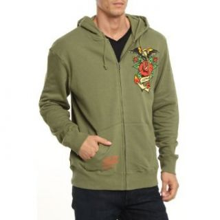 Ed Hardy Mens Eagle Hoodie Jacket  Green: Clothing
