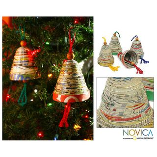 Set of 4 Recycled Paper Bells of Hope and Joy Ornaments (Guatemala