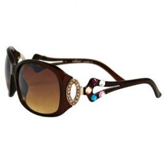 Brown Multi color Rhinestone Embellish Sunglasses