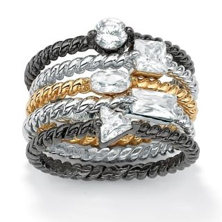 Isabella Collection Tri Tone Cubic Zirconia Braided Stackable Rings