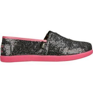 Girls Skechers BOBS World Gunmetal/Neon Pink