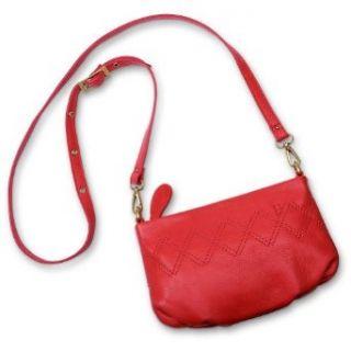 Eddie Bauer Stitched Leather Cross body Handbag, Punch
