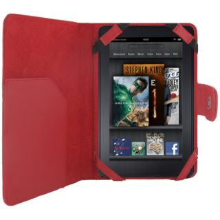 Premium  Kindle Fire Red Leather Stand Case
