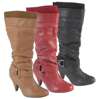 Journee Collection Womens Shannon 2 Round Toe Buckle Detail Boots