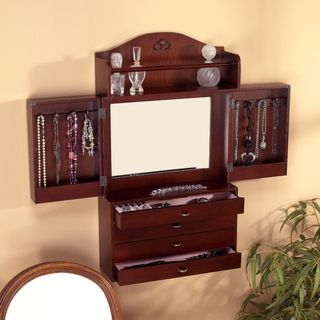 Brown MDF Wall mount Jewelry Armoire with Mirror (16.5 x 5.6 x 29