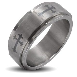 Stainless Steel Mens Celtic Cross Spinner Ring