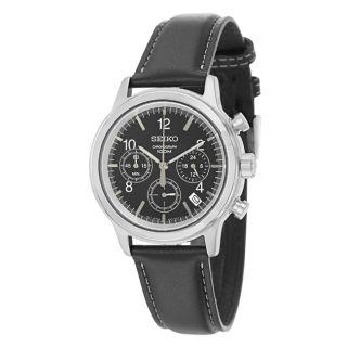 Seiko Mens Chronograph Black Dial Leather Military Time Watch