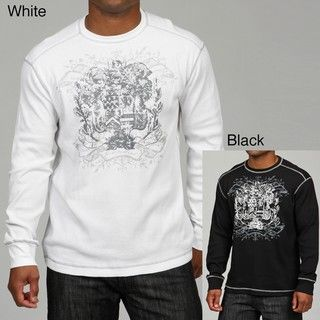 Cultura Mens Graphic Print Henley Shirt