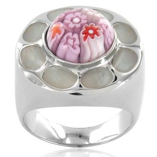Stainless Steel Pink Glass Dome Ring