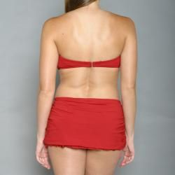 Jantzen Womens Red Bandeau Ruffle Skirt Swimsuit  Size 12