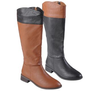 Journee Collection Womens Laura Color Blocked Round Toe Boots