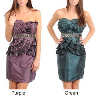 Stanzino Womens Strapless Pleat Detailing Dress