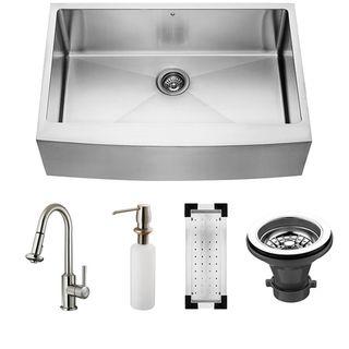 Vigo Farmhouse Stainless Steel Kitchen Sink/ Faucet/ Colander