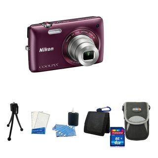 Nikon COOLPIX S4100 14MP Plum Digital Camera with Deluxe Bonus Kit