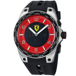 Ferrari Mens World Time Red Analog Digital Dial Black Strap Watch