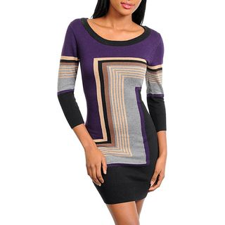 Stanzino Womens Color Block Sweater Dress