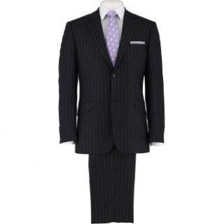 Savile Row Mens Dark Grey Stripe English Wool 2 Button