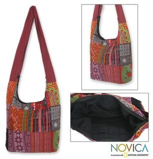 Cotton Hmong Customs Medium Shoulder Bag (Thailand)