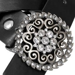 Hailey Jeans Co. Womens Rhinestone Detail Buckle Leather Belt