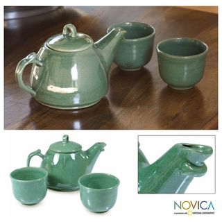 Ceramic Maya Jade 3 piece Tea Set (El Salvador)