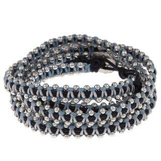 Silvertone and Waxed Cotton Bead Design Wrap Bracelet
