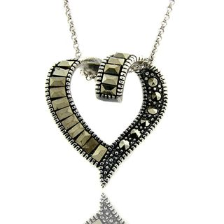 Silver Overlay Marcasite Twisted Heart Necklace
