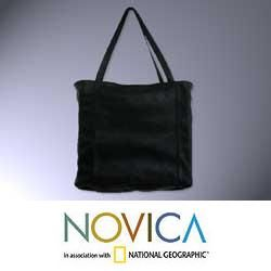 Leather Black Versatility Large Tote Handbag (Mexico)