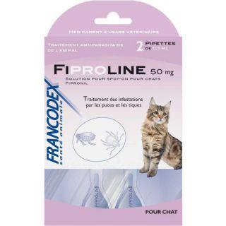 FIPROLINE® 50 mg Spot On pour chat   2 pipettes   Traitement des