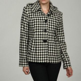 Gallery Womens Black/ White Houndstooth Patterned Coat FINAL SALE
