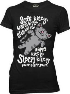 The Big Bang Theory Soft Kitty Warm Kitty BLACK Juniors T