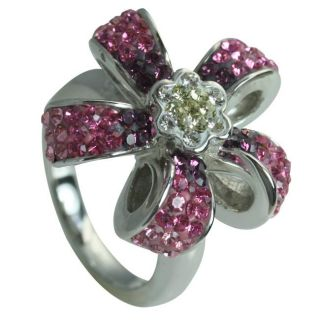 Sterling Silver Pink and Clear Crystal Flower Ring
