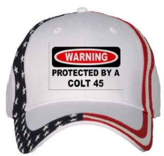 WARNING PROTECTED BY A COLT 45 USA Flag Hat / Baseball Cap