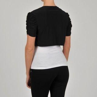 Tiana B Womens Ruched Sleeve Bolero Jacket