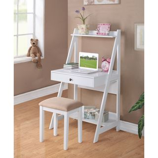 White Finish Laptop Writing Desk Table and Stool Set