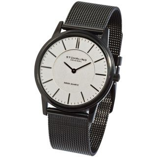 Stuhrling Original Unisex Newberry Ultra Slim Silvertone Dial Watch